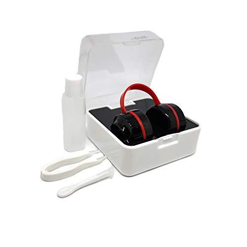 Kopfhöher-Aufbewahrungsbox Set für Kontaktlinsen in Schwarz/Rot mit Pinzette, Behälter und Saugnapf, für Kontaktlinsen, Zubehör für Contactlinsen