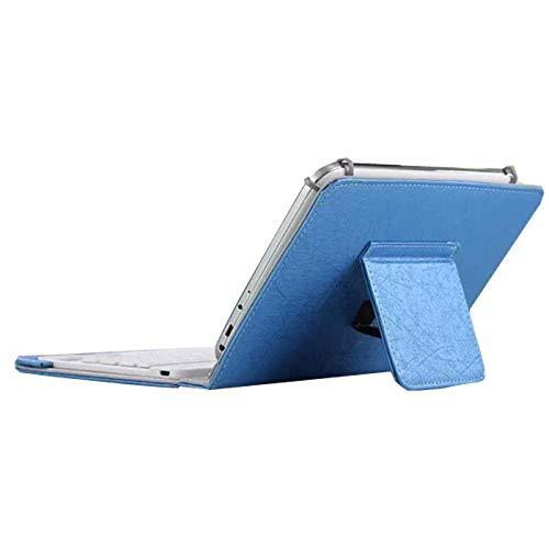 Universal 7 8 Pulgadas 9 10 Pulgadas Teclado Bluetooth PU Funda de Cuero Funda con Soporte + OTG + bolígrafo para Tableta Pad para iOS Android Windows-7 8 Pulgadas Azul