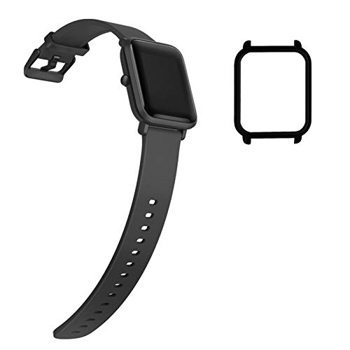 YHC Cinturino per Xiaomi Amazfit Bip/Bip Lite Cinturini,Braccialetto di Ricambio in Silicone Morbido con Guscio Protettivo (Nero)
