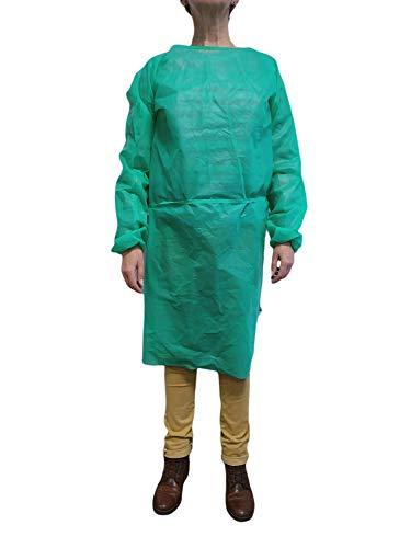 Lotto di 10 copricapo verde monouso maniche lunghe in tessuto non tessuto 35 g/m2
