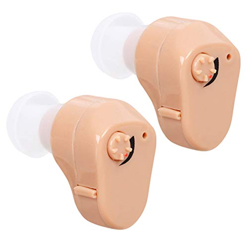 Y-Rachael Audifonos para Sordera Audiencia Ancianos Ayuda De Mini Sonido Inalámbrico Invisible En La Oreja Amplificador Portátil Auricular Batería Extraíble,2 pcs