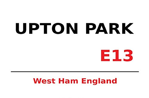 FS London Street Sign Upton Park West Ham E13 White blikken bord gebogen Metal Sign 20 x 30 cm