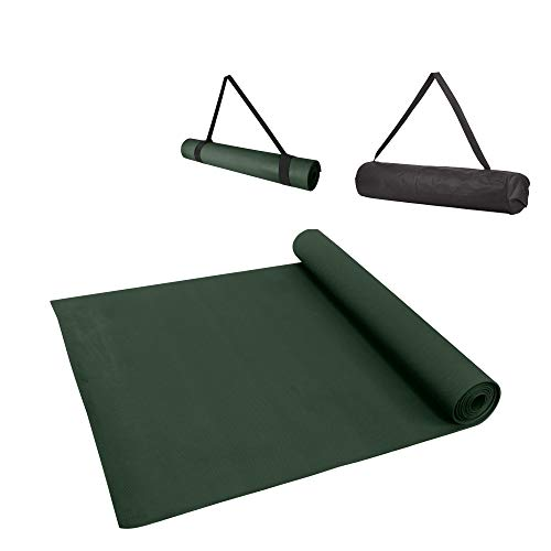 Yoga Sutra Anti-Skid Thick Yoga and Floor Exercise Mat with Carrying Bag & Strap (Army Green 6mm)