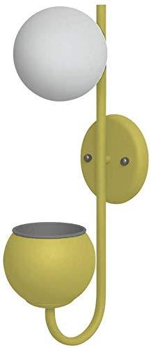 Wandlamp met handleiding voor de gekleurde wandlamp met spiegeleffect kleine bloempot warme sfeer Green Life metaal + glazen wandlamp Yellow