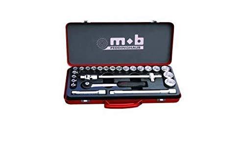 MOB Outillage 0000998001 Coffret Metal Douilles 1/2-25 Pièces (8 À 32 mm), Rouge