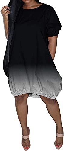 LYDIANZI Vestido para Mujeres Más Talla De Primavera Vestidos De Novia De Verano con Bolsillo para Mujer Switch Switch De Manga Corta Vestidos De Rodilla Media(Size:XXX-Grande,Color:Black-001)