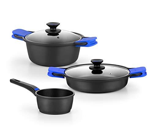 Monix Solid + Batería 3 pièces de Aluminio Fundido con Antiadherente, Apta para Todo Tipo de cocinas Incluso inducción