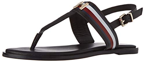 Tommy Hilfiger Damen Corporate Leather Flat Peeptoe Sandalen, Schwarz (Black Bds), 39 EU
