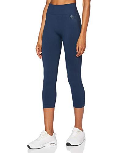 Marca Amazon - AURIQUE Mallas para Correr Cortas sin Costuras Mujer, Azul (Dress Blue), 42, Label:L