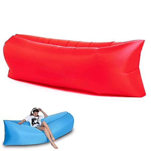 Wasserdichtes Aufblasbares Sofa, Luftsofa Luftsack, Tragbares Air Lounger, Luftsack Sitzsack, Luft Couch, Outdoor Sofa, Ideal Für Camping, Strand, Outdoor Rot