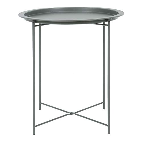 Hodge and Hodge Round Metal Folding Side Table Tray Top Light Portable Coffee Night Stand Dark Grey