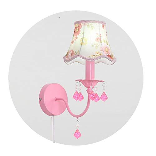 Lámpara de Pared for niños, Enchufe de Pared Apliques de Pared Iluminación for el Estudio de los niños de Noche Apliques de la Pared de Metal y de Tela Pantalla (Color : Pink)