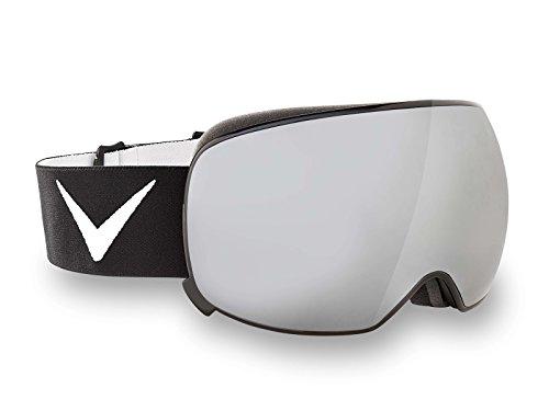 Black Crevice Skibrille mit Magnetwechselscheibe, schwarzer Rahmen, mit Ersatzscheibe, Gr. L, Grey Mirror