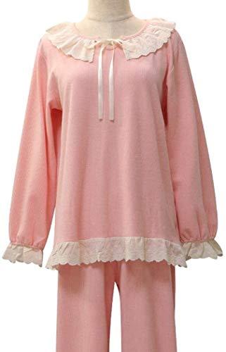 SCRT Pijama Pijamas Atractivos Primavera y el otoño de Las Mujeres de Corea del 2 Conjunto Grande Lindo Encaje Pijamas (Color : Pink, Size : Ms. M)