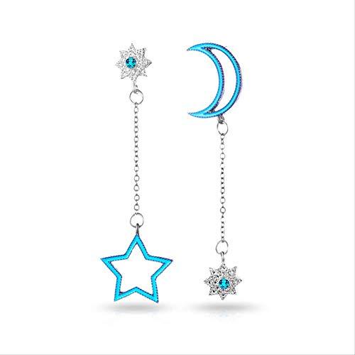Oorbel bengelen asymmetrische oorbel vrouwen glanzende strass maan ster hanger lange ketting oorbel verklaring sieraden cadeau