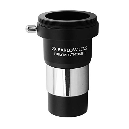Barlow Lens 2X, Bysameyee 1.25 Inch Fully Multi-Coated Metal Barlow Lens with M42 Thread Camera Connect Interface for Telescope Eyepiece