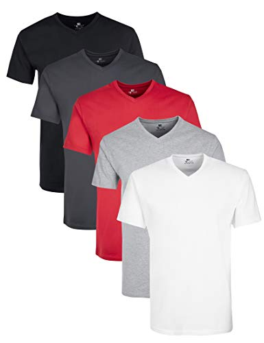 Lower East LE156 T-Shirt, Weiß/Grau Melange/Forged Iron/Schwarz/Rot, 2XL, 5er-Pack