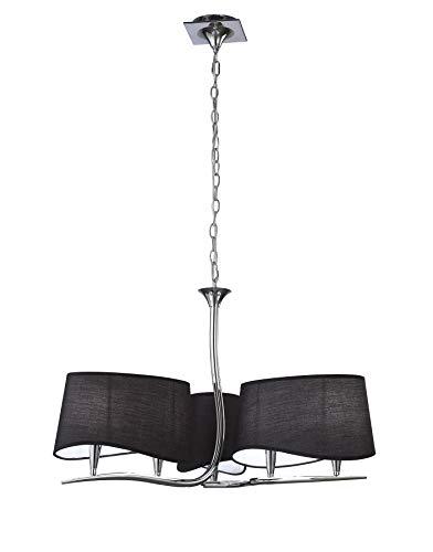 Inspired Mantra - Ninette - Lámpara colgante de techo con 3 brazos y 6 luces E14, cromo pulido con pantallas negras