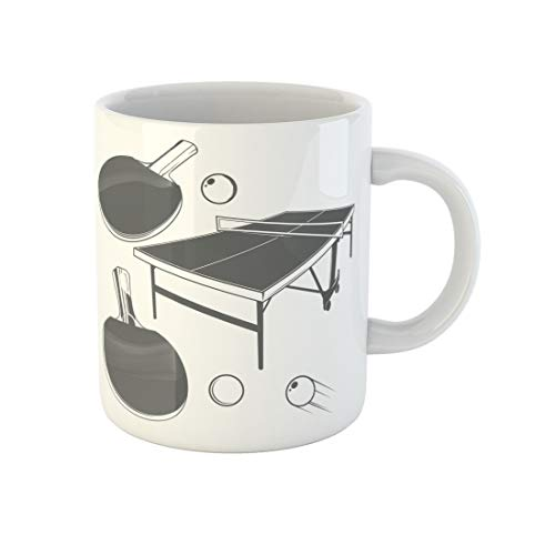 Awowee Coffee Mug Ping Pong Monochrome in Vintage Table Racket Small 11 Oz Ceramic Tea Cup Mugs Best Gift Or Souvenir For Family Friends Coworkers