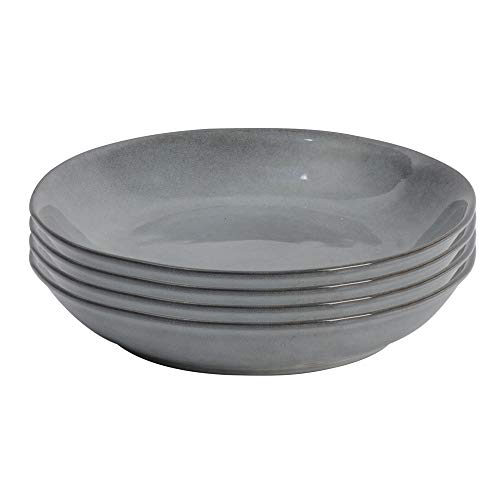 ProCook Malmo Tiefer Teller - 4-teilig - Steinzeug - Dunkelgrau - handgearbeitetes Design - Steingut - Suppenteller