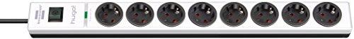 Brennenstuhl hugo! regleta enchufes con 8 tomas y protección sobretensiones hasta 19.500A (cable de 2 m de largo, interruptor, protección antirayos, montable) blanco/negro