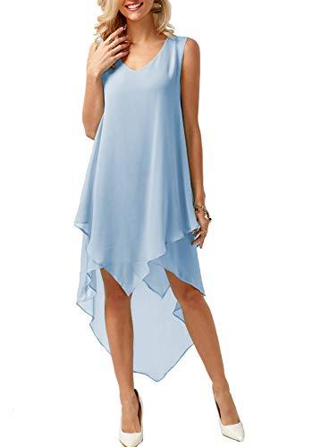SPONSOKT Europäisch Und Amerikanisch Damen Sommer- V-Ausschnitt Ärmellos Solide Farbe Irregulär Chiffon Kleid Close-Edge Kunst V-Ausschnitt Eine Linie Rock Strand Kleid/B/S