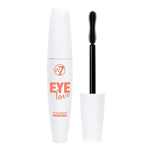 W7   Eye Love Hypoallergenic Mascara   Black Mascara Formulated For Sensitive Eyes With Vitamin E   Hourglass Shaped Brush For Volume And Length   Cruelty Free, Vegan Eye Makeup