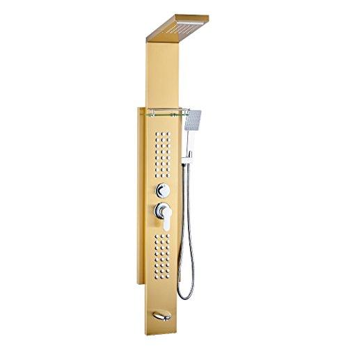 Duschpaneel Duschsäule Edelstahl Wasserfall Regendusche Massage Ablage Gold Sanlingo