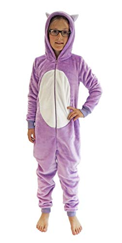 Kinder Karnevalskostüm Unisex Jumpsuit Overall Onesie Schlafanzug in tollen Tier Motiven, Größe:140, Farbe:Katze