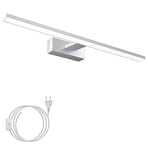 LED Spiegelleuchte 60cm, 15W IP44 Wasserdichte Badleuchte für Badzimmer Spiegel, Schminktisch und Wandbeleuchtung, 6000K Weißlicht, 1200LM, 230V Ein Netzkabel mit Schalter, SOLMORE