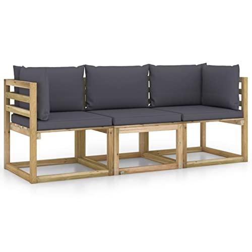 Gawany Sofá de jardín de 3 plazas con Cojines Sofa de Palets Interior/Exterior Sillon Palets/Sofa para Patio Gris Antracita