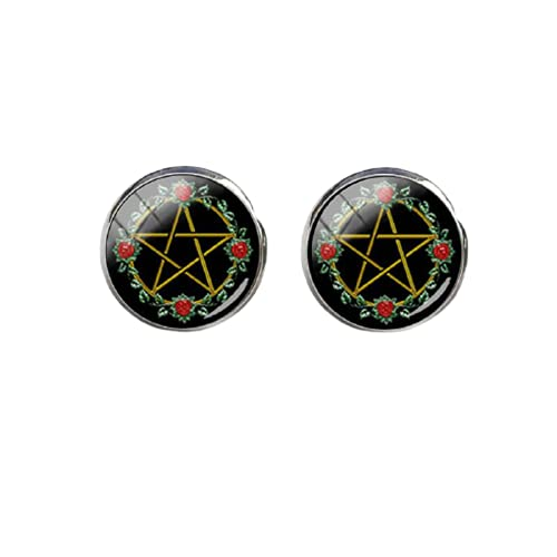 Nuevo pentagrama blanco pendiente ocultista Wiccan pendientes redondos hechos a mano joyería de cristal cúpula oído Stud para las mujeres