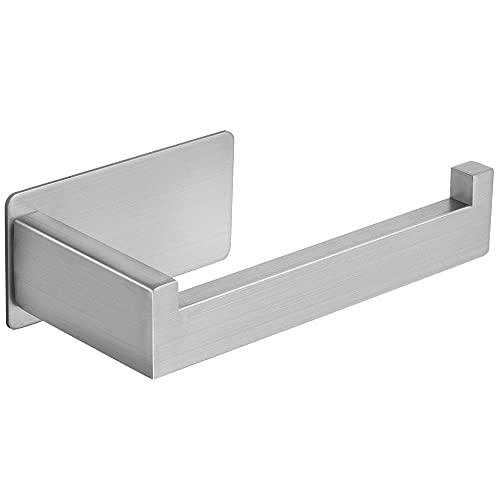 Portarrollos Baño Adhesivo Porta Papel Higienico Acero Inoxidable Porta Rollos de Papel Higienico Para Baño y cocina (Plata)