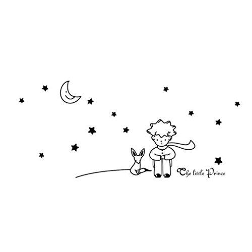 ELECTRI Sticker mural Lune et étoiles Stickers ciel nuageux Chambre de bébé Cadeau Sticker mural enfants Chambre Chambre Garçon Fille Stickers Muraux en vinyle décoration murale (Blanc)