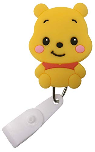 Cartoon Retractable Badge Reel - Holder for ID and Name Tag with Belt Clip, Great Gift for Nurse and Medical Workers, Cute ID Holders for Nursing School Student, RN, or CNA (Winnie The Pooh/Pooh Bear)