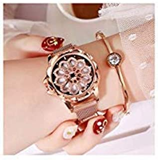 Fashion Rhinestones Women Waterproof Watch New,Wrist Shaking, Flower Rotation Inside The Dial Milan Strap, with Unique Magnet Lock no Buckle no Second