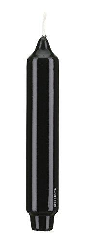 Gelackte Kerzen Stabkerzen, Punchkerzen mit Zapfenfuss Klarlack - hochglänzend Schwarz 30 x 3 cm, 6 Stück, Exclusive besondere Kerzen