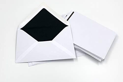 25 Trauerumschläge mit schwarzem Seidenfutter und schwarzem Balken, C6 = 162 x 114 mm