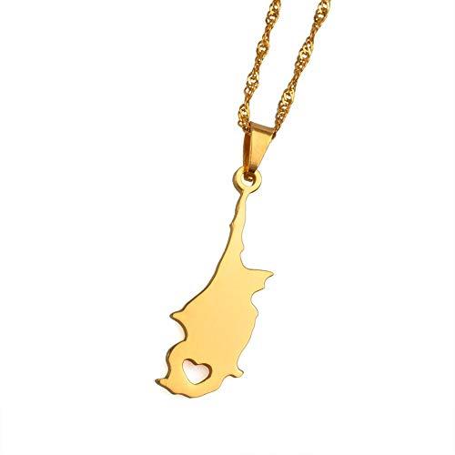 NSXLSCL Vrouwen Hanger Ketting, Mode Cyprus Land Kaart Hanger Kettingen Goud Kleur Sieraden Kaarten Patriottische Giftvalentine'S Dag Vriendin Gift