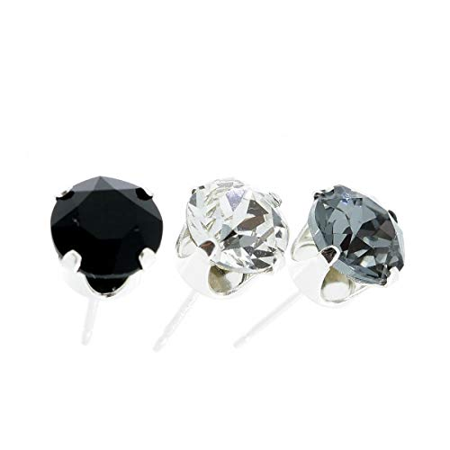 pewterhooter 3 single Men's 925 Sterling Silver stud earrings. sparkling Black Diamond, Jet and Diamond White crystal from Swarovski. Gift box. Made in the UK. Hypoallergenic & Nickle Free for Sensitive Ears.