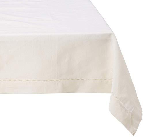 Fennco Styles - Mantel de Mezcla de Lino con Dobladillo clásico para Mesa de Comedor, Banquete, Boda, Cena Familiar, Contemporáneo, Ecru, 65 x 160 Inch