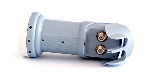 SatIntegral - LNB Doppio modello T-002, Convertitore Doppio di segnale satellitare universale (40 mm) LNB Twin - 2 uscite, KU Band (Full HD, 4K, 3D Ready, 0.3dB)