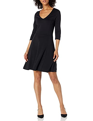 Lark & Ro Women's Three Quarter Sleeve V-Neck Fit and Flare Dress, Black, Large