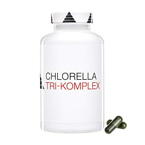 Chlorella Komplex Algen Kapseln   Hochdosiert   Vulgaris, Pyrenoidosa & Kupfer-Chlorophyllin   Vegan