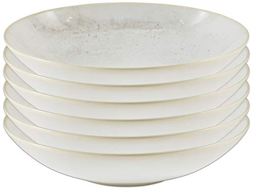 Amazon Brand – Stone & Beam Erie Rustic Reactive-Glaze Stoneware 6-Piece Dinner Bowl Set, Organic Speckled