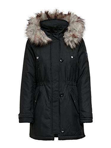 ONLY Damen Parka Winterjacke Kurzmantel Kapuzenjacke Wintermantel (34 (Herstellergröße: XS), Black)