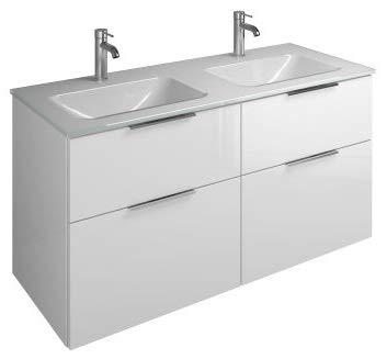 Burgbad Eqio Glas-Doppelwaschtisch inklusive Waschtischunterschrank SEYY122, Breite 1220 mm, Farbe (Front/Korpus): Weiß Hochglanz/Weiß Glänzend, Griff G0146 - SEYY122F2009G0146