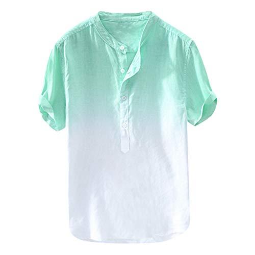 Xmiral T-Shirt Uomo Vintage - Camicia Uomo Elegante Maglietta Manica Corta - Tshirt Maglione Uomo Estiva Particolari Magliette Corte XXXL Verde
