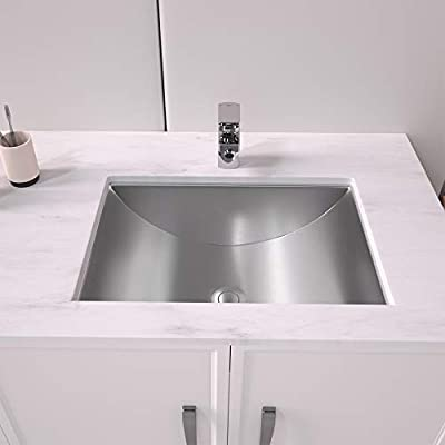 Undermount Bathroom Vessel Sink - Lordear 20 Inch Bathroom Sink Stainless Steel Modern Lavatory Vanity Farmhouse Bathroom Sink with Pop-up Drain Assembly