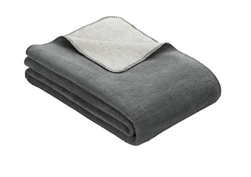 Kuscheldecke IBENA Dublin 2340 / Wendedecke grau / Tagesdecke 150 x 200 cm / angenehm warm und besonders weich / hervorragende Qualität | hohem Baumwollanteil in verschiedenen Größen und Farben